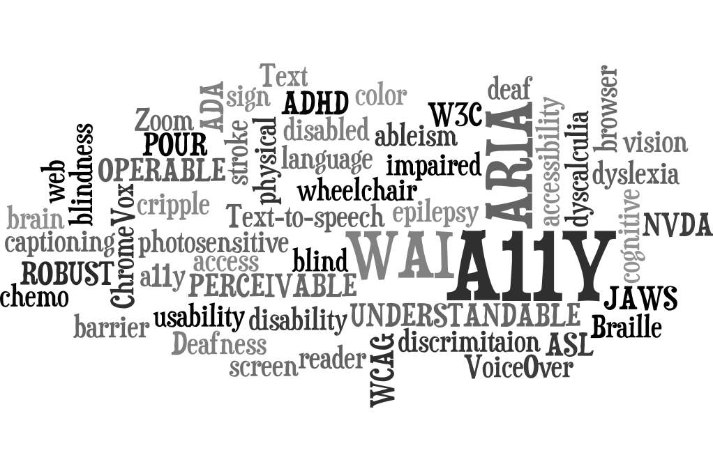 A11Y Word Cloud of Accessibility Words and Terms